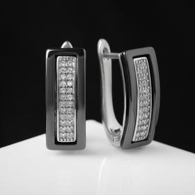 """Серьги керамика """"Прямоугольник"""", цвет чёрный в серебре"""