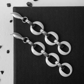 """Серьги керамика """"Трио"""", цвет белый в серебре"""