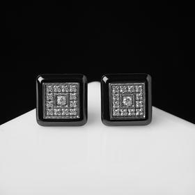 """Пусеты керамика """"Квадрат"""", цвет чёрно-белый в серебре"""