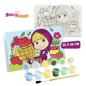 Картина по номерам «Маша с яблоками», Маша и Медведь, 20 х 30 см