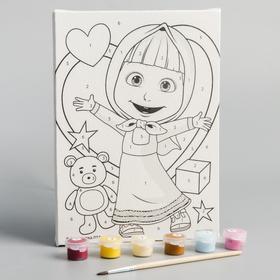 Картина по номерам, Маша и Медведь, 21 х 15 см