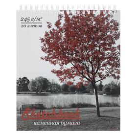 """Скетчбук А5, 20 листов на гребне """"Осень"""", обложка мелованный картон, тиснение фольгой, выборочный УФ-лак, 245 г/м2"""