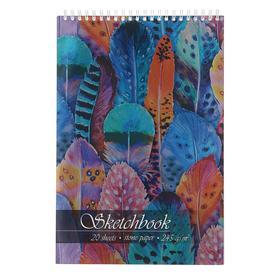 """Скетчбук А4, 20 листов на гребне """"Перья"""", обложка мелованный картон, тиснение фольгой, твин-лак, 245 г/м2"""