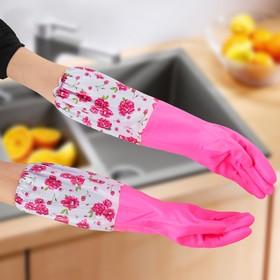 Перчатки хозяйственные латексные с утеплителем, размер L, длинные манжеты, 100 гр, цвет МИКС