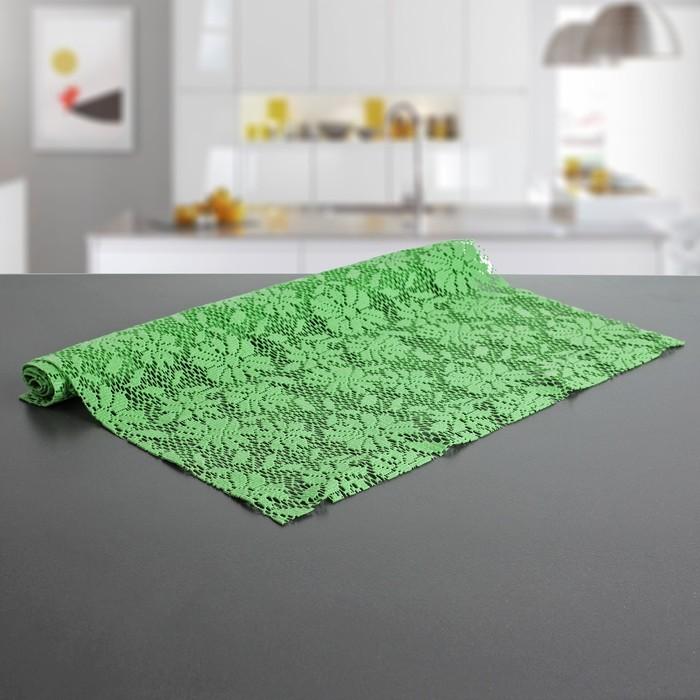 """Коврик противоскользящий 45х100 см """"Цветы"""", цвет зеленый"""