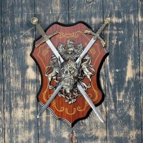 Сувенирное оружие «Геральдика на планшете» с изображением головы демона, два меча Ош