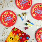 Набор бумажной посуды «С днём рождения», смайлы, 6 тарелок, скатерть, 6 язычков - фото 282124874