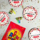 "Set of paper tableware ""Happy birthday to you"", 6 plates, tablecloth, 6 tongues"