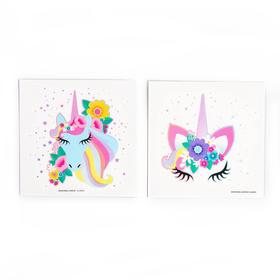 Татуировки-переводки детские, 8 × 8 см, набор 2 шт. «Единорог»