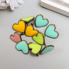 "Brads for scrapbooking ""Heart with enamel"" MIX 1.6 cm"