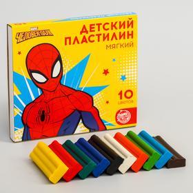 Пластилин мягкий  «Детский», 10 цветов, 150 г, Человек-паук