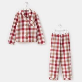 Комплект детский (рубашка, брюки) MINAKU: Home collection KIDS цвет красный, рост 116