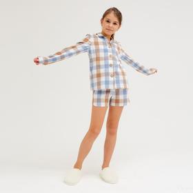 Комплект для девочки (рубашка, шорты) MINAKU: Home collection KIDS цвет синий, рост 116