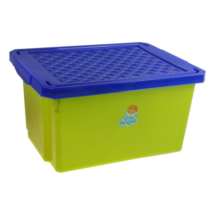Ящик для игрушек Little Angel «Лего» с крышкой, 17 л, цвет фисташковый