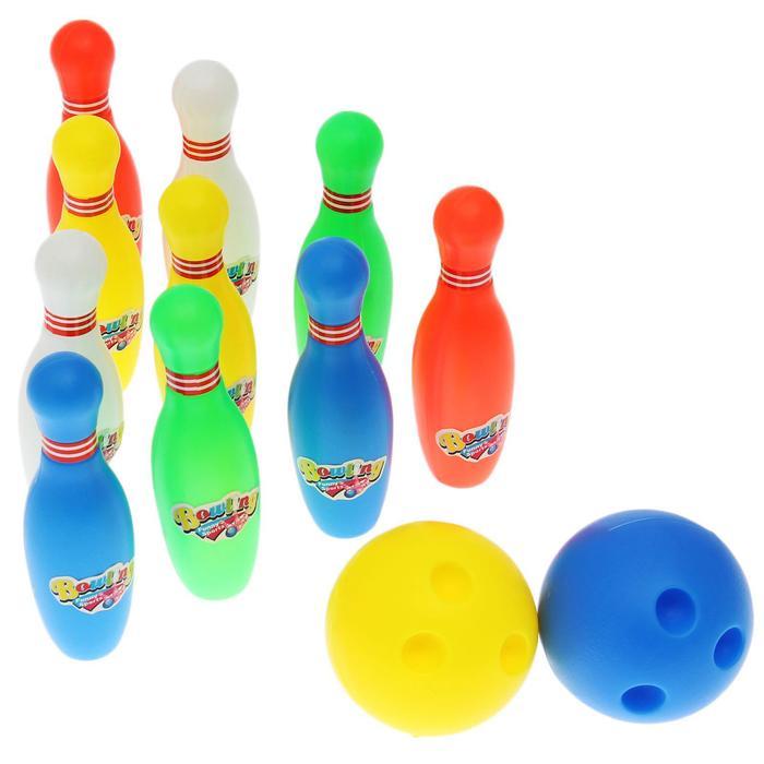 """Набор для боулинга """"Страйк"""", 10 кеглей (высота 13,5 см), 2 шара"""