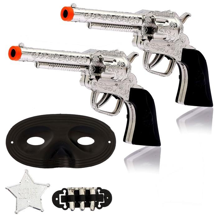 Набор ковбоя «Шериф», 2 пистолета, маска, значок - фото 105576733