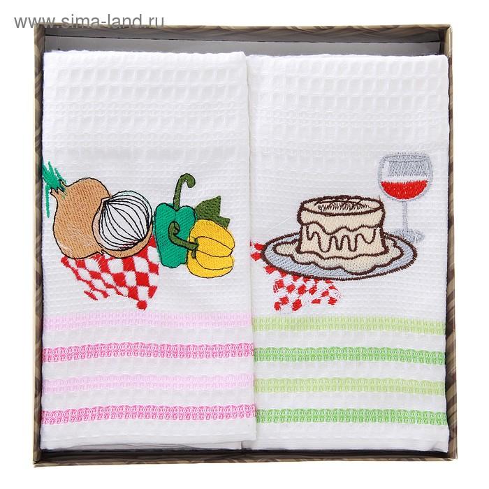 Набор кухонных полотенец NILTEKS в коробке 40*70-4шт белые, вышивка, вафля 350 гр/м, цв.микс