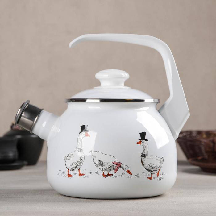 Чайник «Гуси», 2,5 л, со свистком - фото 773629