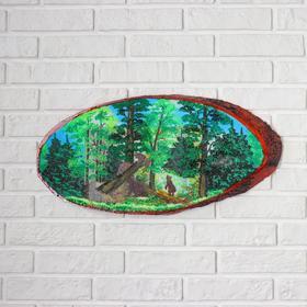 """Панно на спиле """"Утро в сосновом лесу"""", 60 см, каменная крошка, горизонтальное"""