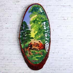 """Панно на спиле """"Охотники на привале"""", 60 см, каменная крошка, горизонтальное"""