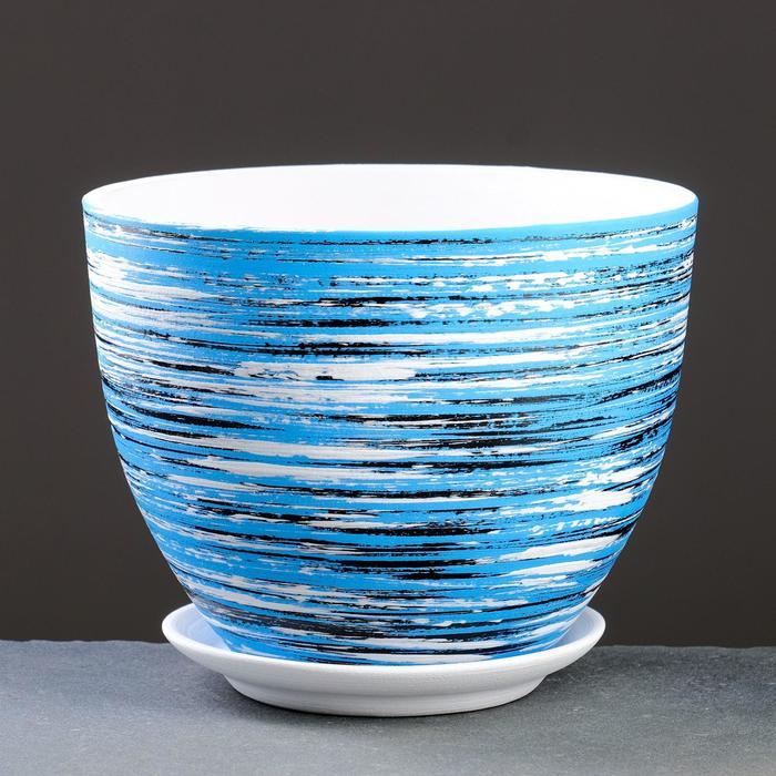 Горшок цветочный ТЕХНО синий 3,6 л - фото 858403