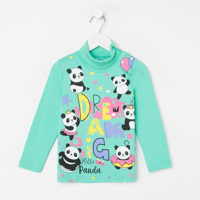 Водолазка для девочки, цвет мятный/панды, рост 92 см - фото 76782036