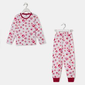 Пижама для девочки, цвет белый/бордовый, рост 104 см
