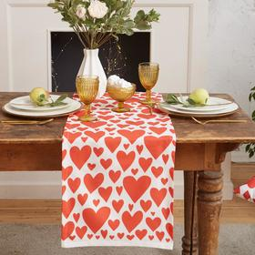 "{{photo.Alt || photo.Description || 'Дорожка на стол ""Этель"" Red hearts 40х149см, 100% хл, саржа 190 г/м2'}}"