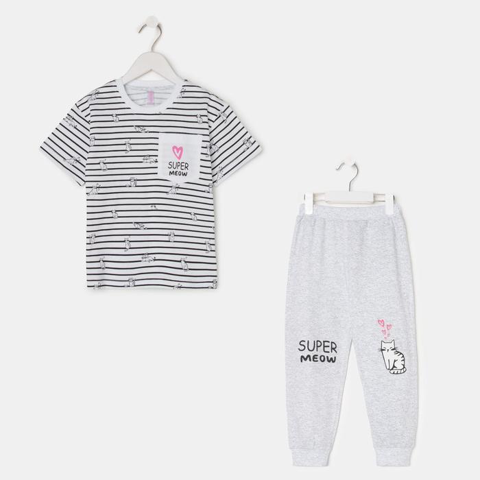Пижама для девочки, цвет белый/серый, рост 116 см - фото 76774327