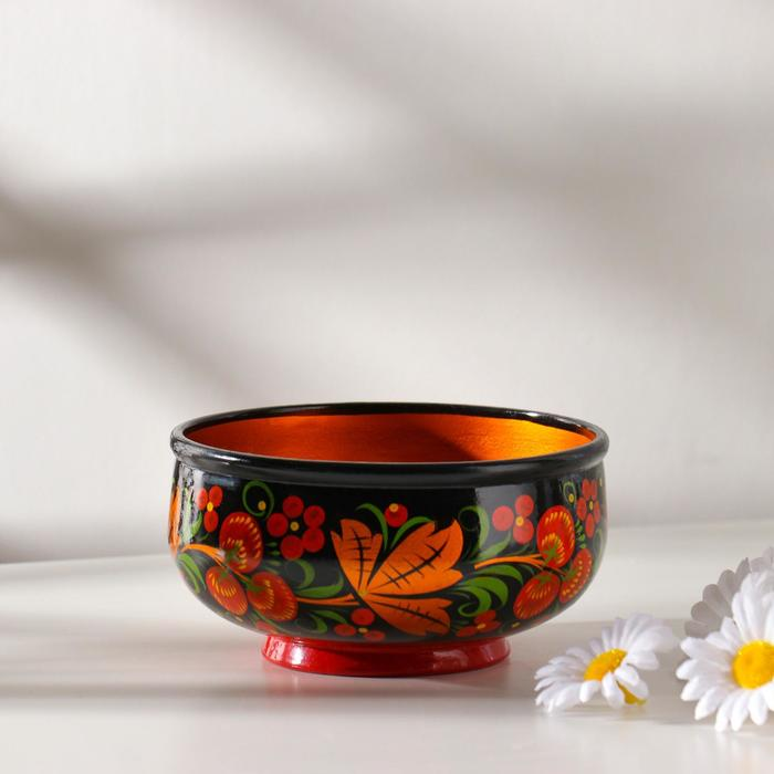 Чашка «Цветочки», средняя, 15×7,5 см, зелёная хохлома