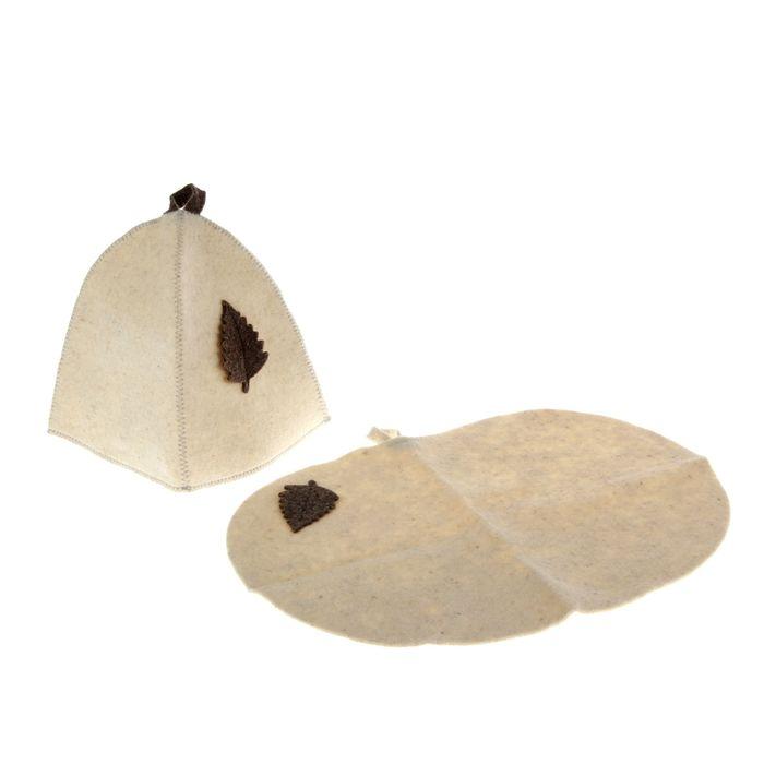 Набор для бани и сауны с аппликацией «Классический»: шапка, коврик, белый