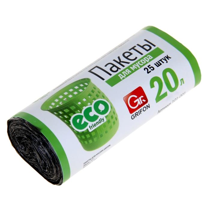 Пакеты для мусора GRIFON 20 л, 6 мкм, ПНД, цвет черный, 25 шт в рулоне