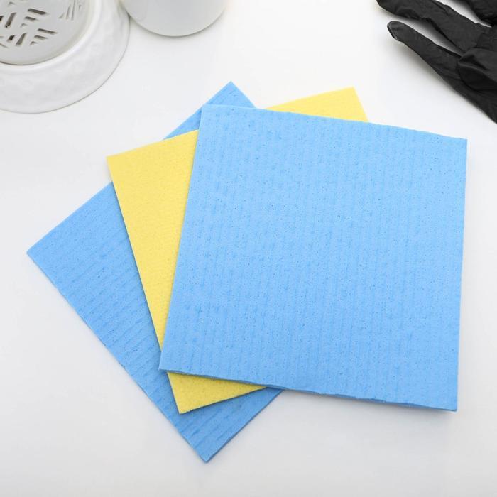 Набор губчатых салфеток для кухни 15×15 см, 3 шт, цвет МИКС - фото 4643867