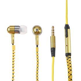 Наушники ELTRONIC ZIPPER, вакуумные, микрофон, 102 дБ, 32 Ом, 3.5 мм, 1.2 м, желтые