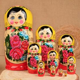 Матрёшка «Семёновская», жёлтый платок, 10 кукольная, 24 см, ручная работа