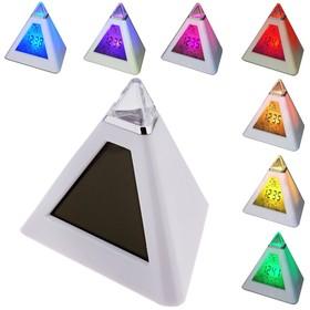 """Будильник LuazON LB-05 """"Пирамида"""", 7 цветов дисплея, термометр, подсветка, МИКС"""