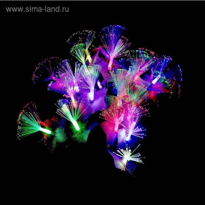 """Светодиодный куст уличный 0,3 м, """"Сиреневый цветок павлин"""", 32 LED, 220V, моргает МУЛЬТИ"""