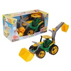 Трактор с грейдером и ковшом желто-зеленый