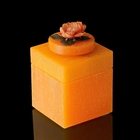 """Музыкальная шкатулка """"Цветы оранж"""", квадратная, аромат апельсина"""