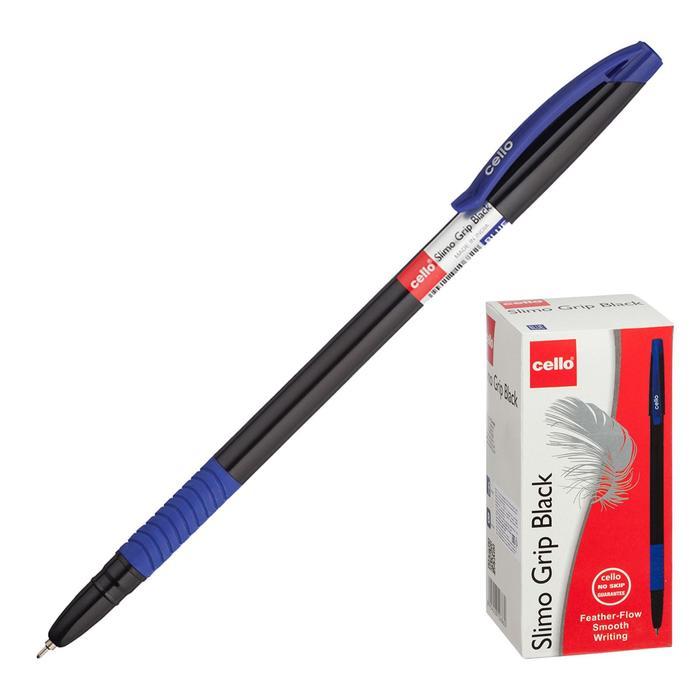 Ручка шариковая Cello Slimo Grip black body, узел 0.7мм, резиновый упор, чернила синие, корпус-чёрный