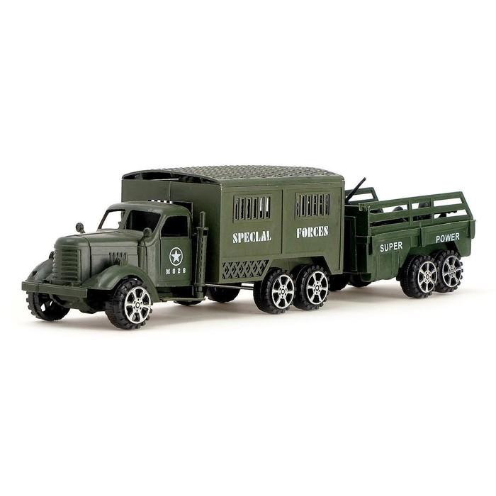 Машина инерционная «Армия», с прицепом, МИКС