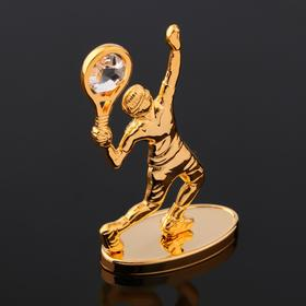 """Сувенир """"Теннисист"""" на зеркальной подставке, с  кристаллами Сваровски, 8,5х6х3 см"""
