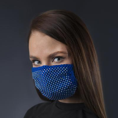Decorative mask, mesh, color white-blue