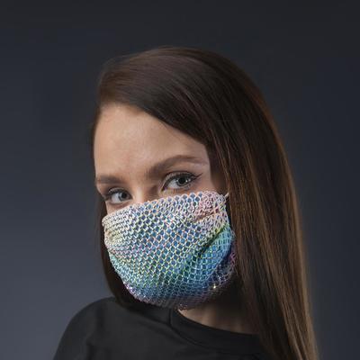 Decorative mask, mesh, multicolored