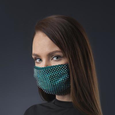 Decorative mask, mesh, rainbow-emerald color