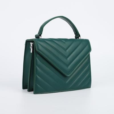 Women's bag L-5131, 21*8*16, otd on the valve, belt length, n / pocket, green