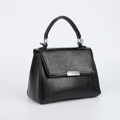 Women's bag L-90618, 23*12*17, otd on the flap, belt length, n / pocket, black