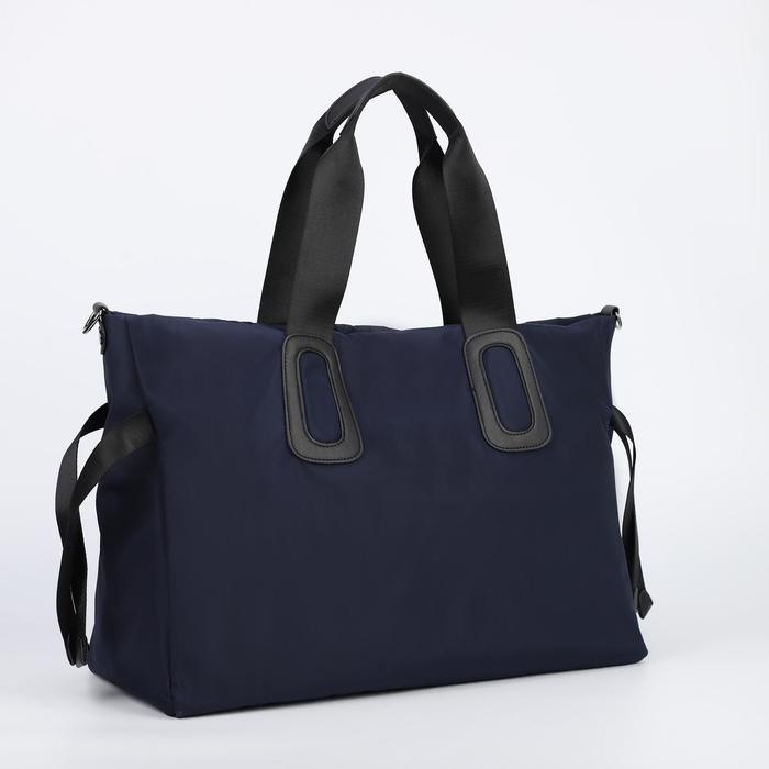 Сумка-шопер, отдел на молнии, длинный ремень, наружный карман, цвет синий - фото 773962
