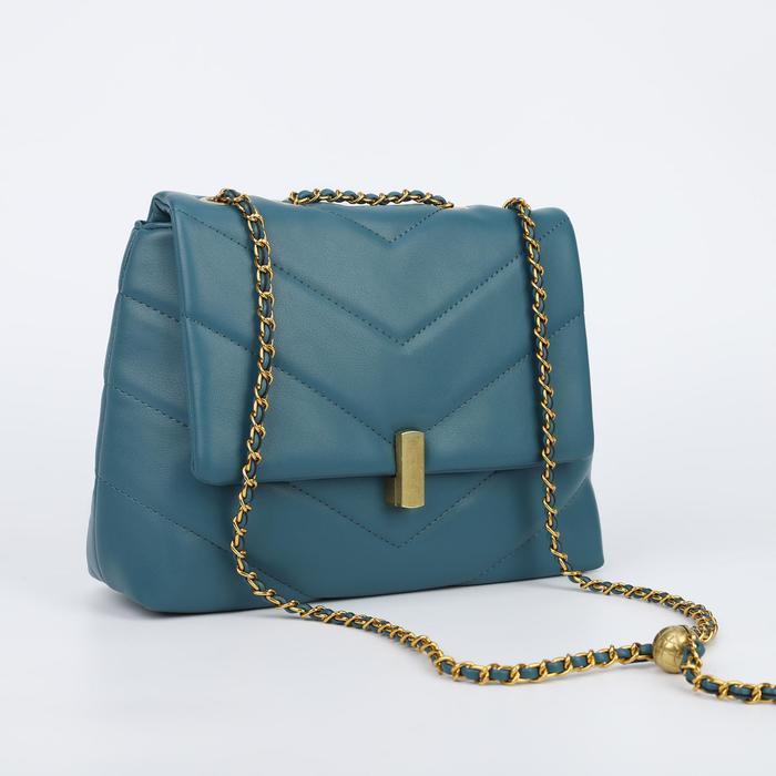 Сумка-мессенджер, отдел на клапане, длинный ремень, наружный карман, цвет синий - фото 773966