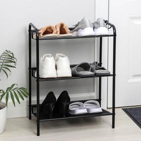 Подставка для обуви «Женева-13», 3 полки, 45×27×60 см, цвет чёрный